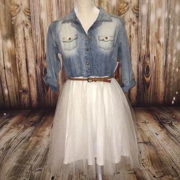 16 NWT GIRL/'S ARIZONA DRESS WITH DENIM TOP AND WHITE NET SKIRT ~ SIZE 14